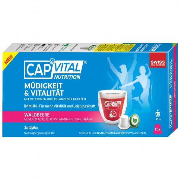 CapVital Müdigkeit & Vitalität - Multivitamin Heissgetränk - Waldbeere - 10 Kapseln