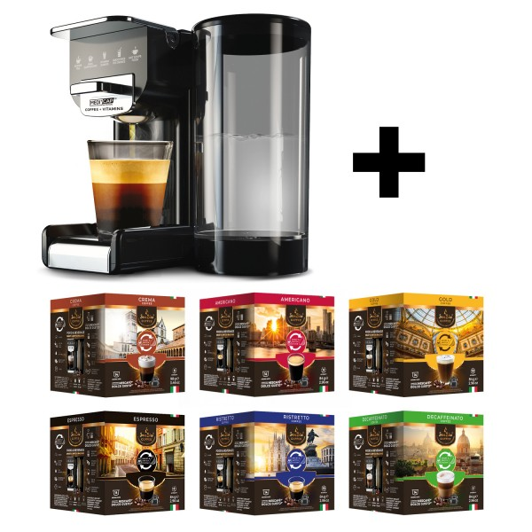 SanSiro Geniesser Set - 6 Sorten SanSiro Kaffeekapseln + SMART & SWITCH Kapselmaschine
