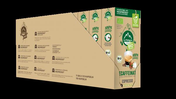 La Natura Lifestyle BIO Decaffeinato Espresso - 100er Multipack