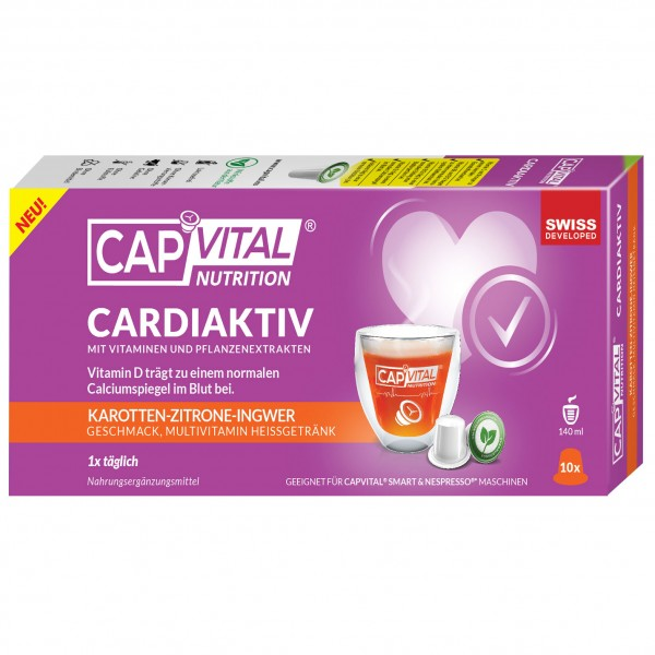 CapVital Cardiaktiv - Multivitamin Heissgetränk - Karotte-Zitrone-Ingwer - 10 Kapseln