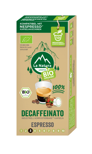 La Natura Lifestyle BIO Decaffeinato Espresso - 10 Kapseln