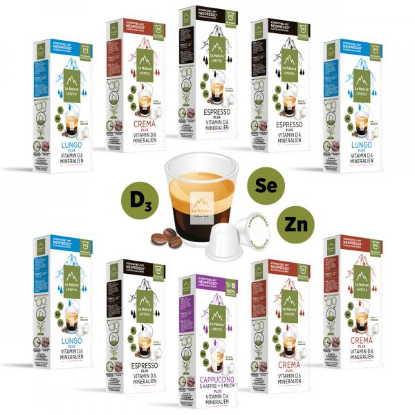 La Natura Lifestyle Kaffee mit Vitamin D & Mineralien Set - 100 Kapseln