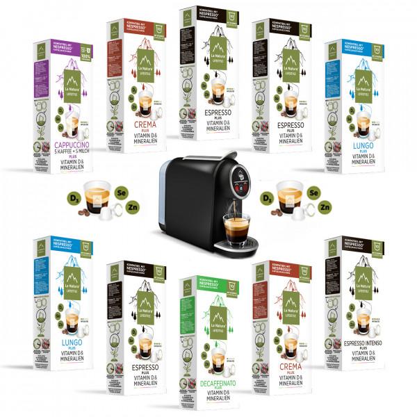 La Natura Lifestyle Kaffee mit Vitamin D & Mineralien Set - 100 Kapseln & SMART Kapselmaschine