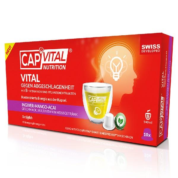 CapVital Vital Gegen Abgeschlagenheit - Multivitamin Heissgetränk - Mango-Ingwer-Acai - 10 Kapseln