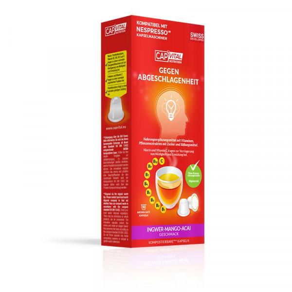 CapVital Gegen Abgeschlagenheit - Multivitamin Heissgetränk - Mango-Ingwer-Acai - 10 Kapseln