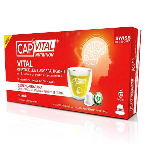 CapVital Vital Geistige Leistungsfähigkeit - Multivitamin Heissgetränk - Ginseng-Guarana - 10 Kapsel
