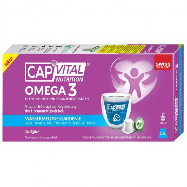 CapVital Omega 3 - Multivitamin Heissgetränk - Wassermelone-Gardenie - 10 Kapseln