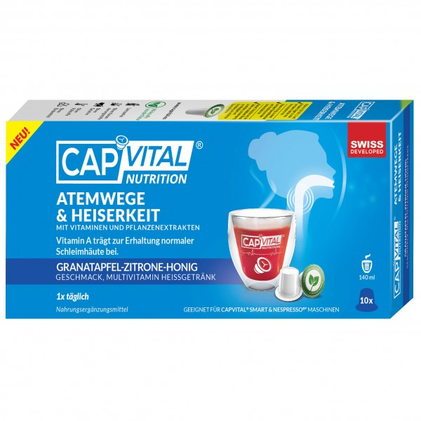 CapVital Atemwege & Heiserkeit - Multivitamin Heissgetränk - Granatapfel-Zitrone-Honig - 10 Kapseln